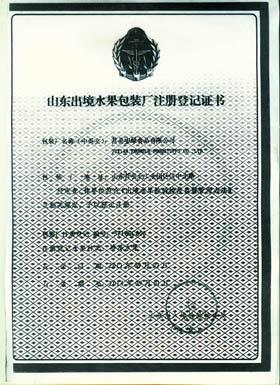 山东出境水果包装厂注册登记证书